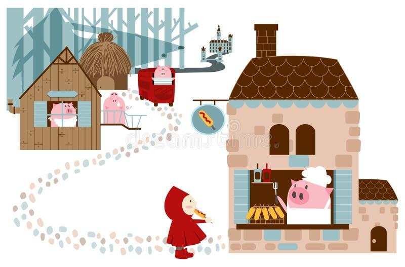 Små svin i skog stock illustrationer