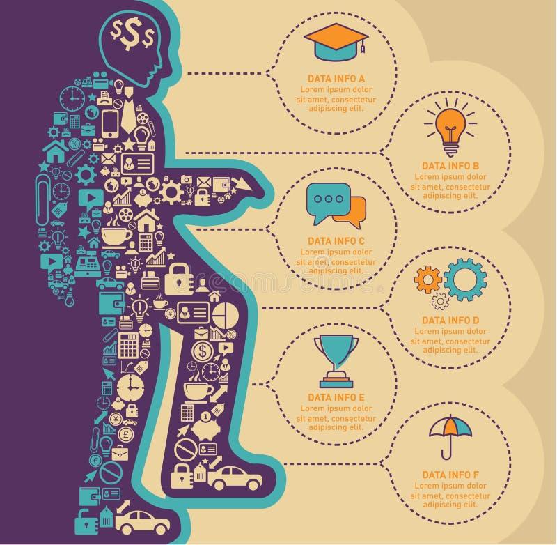 Små symboler bildar en illustration av en entreprenör upp trappan med mallen för den affärsInfographic designen stock illustrationer