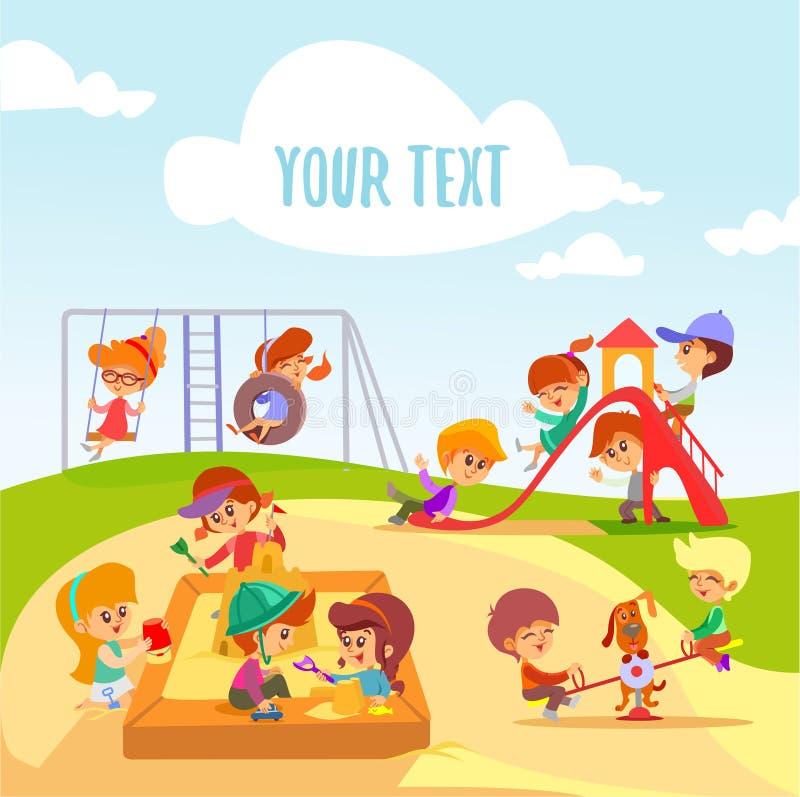 Små tecknad filmpojkar och flickor som spelar på lekplats stock illustrationer