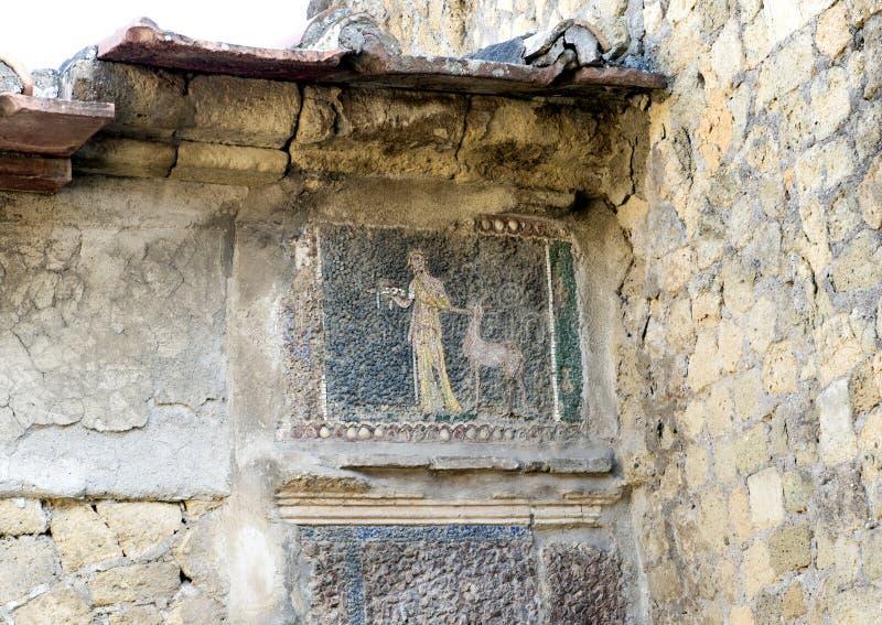 Små tegelplattamosaiker för Closeup, hus i Parco Archeologico di Ercolano royaltyfri bild