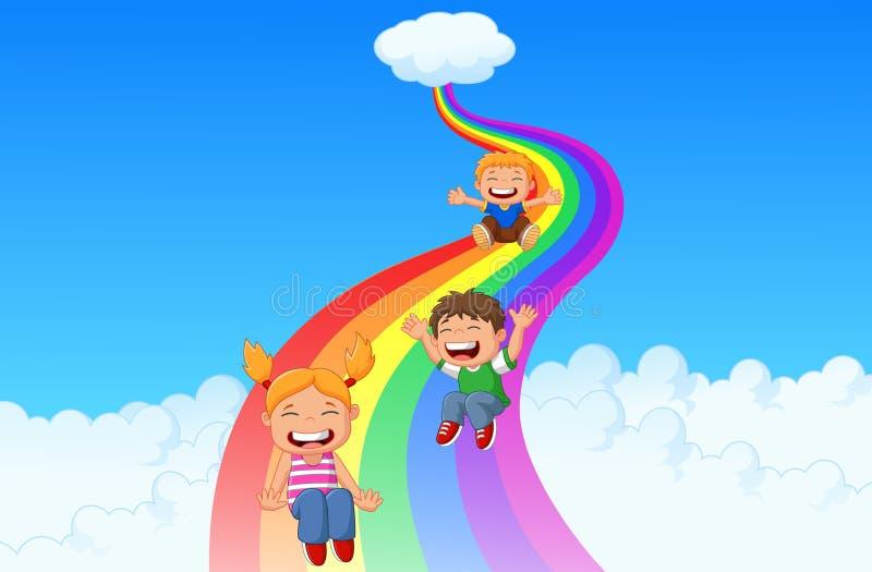 Små ungar för tecknad film som spelar glidbanaregnbågen stock illustrationer