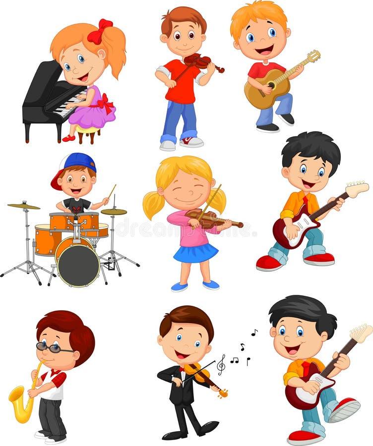 Små ungar för tecknad film som spelar musik vektor illustrationer