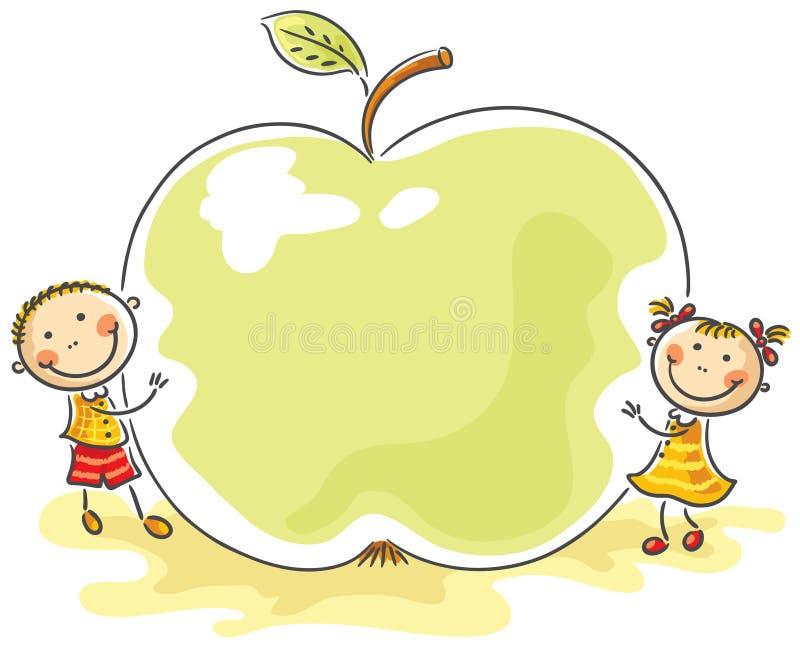 Små ungar med ett jätte- äpple royaltyfri illustrationer