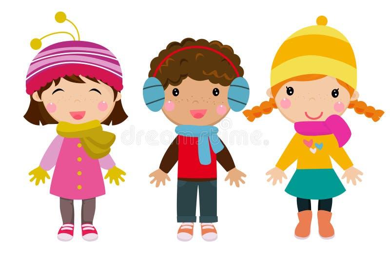 Små ungar som bär vinterkläder vektor illustrationer