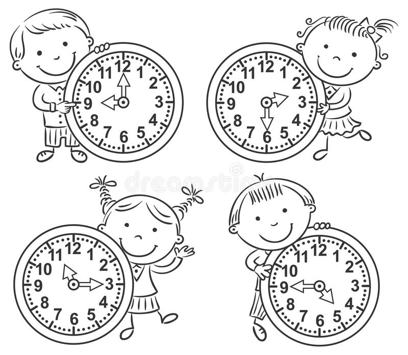 Små ungar som berättar tiduppsättningen vektor illustrationer