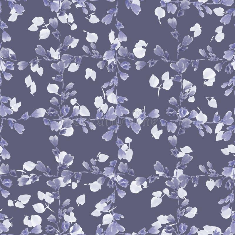 Små violetfilialer för sömlös modell och ljussidor på en djup grå bakgrund vektor för detaljerad teckning för bakgrund blom- vatt royaltyfri illustrationer