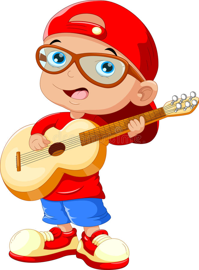 Småbarn som bär en röd hatt och solglasögon som spelar en gitarr vektor illustrationer