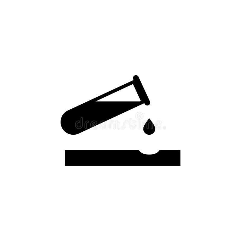 Småelak kemikaliefara, genomblöt symbol för syralägenhetvektor vektor illustrationer
