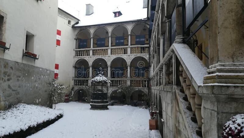 Småstad Strechau i vinter arkivbild