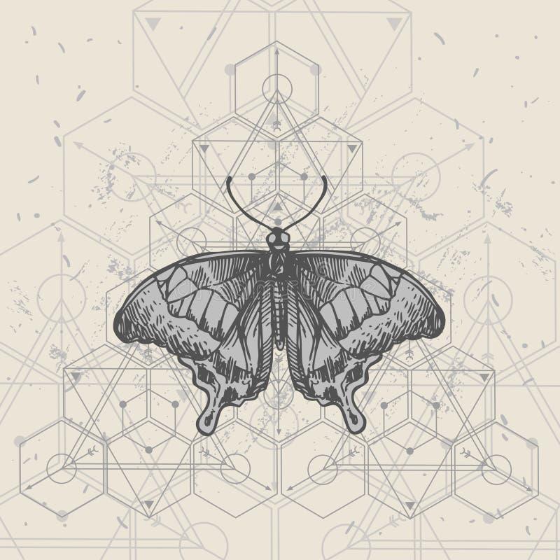 Smögel och helig geometri Bild på handritad vektor vektor illustrationer