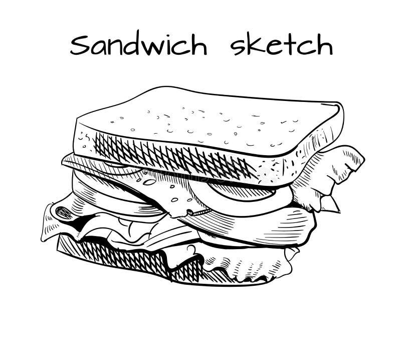 Smörgåsöversiktsteckning Vektorn skissar vektor illustrationer