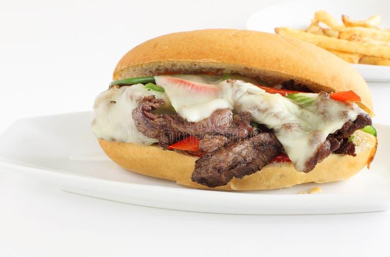 Smörgås för Philly ostbiff arkivbilder