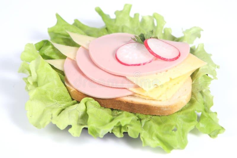 smörgås för rädisa för ostgrönskaskinka royaltyfria foton