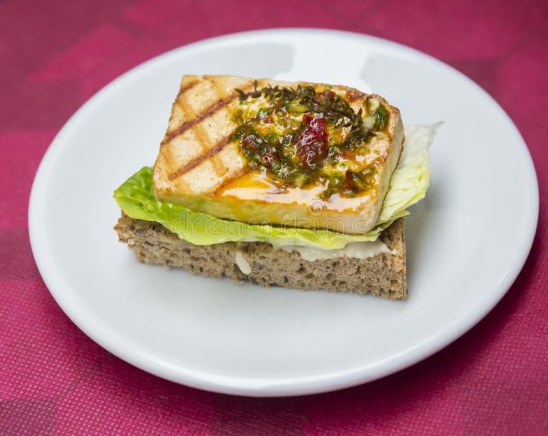Smörgås med den grillade tofuen fotografering för bildbyråer