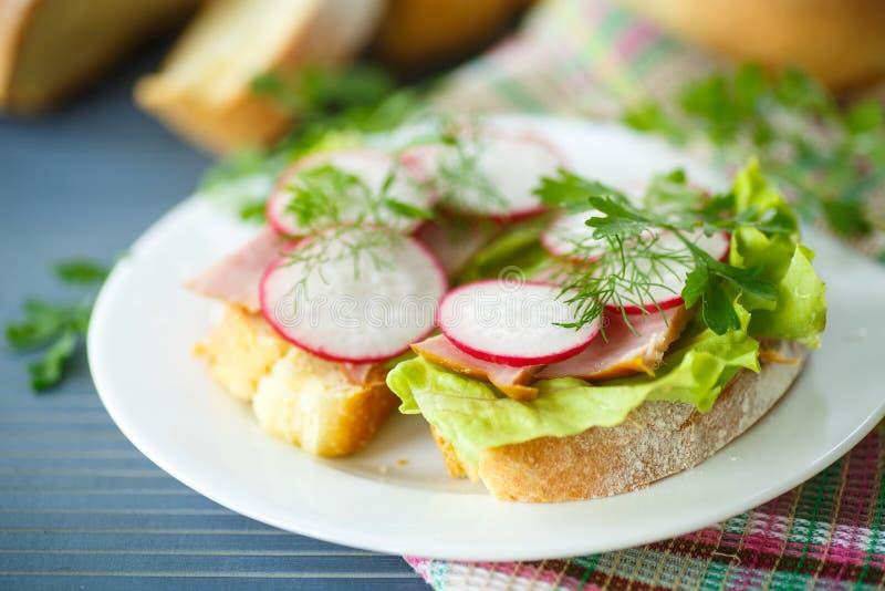 Smörgås med grönsallat, skinka och rädisan royaltyfria bilder