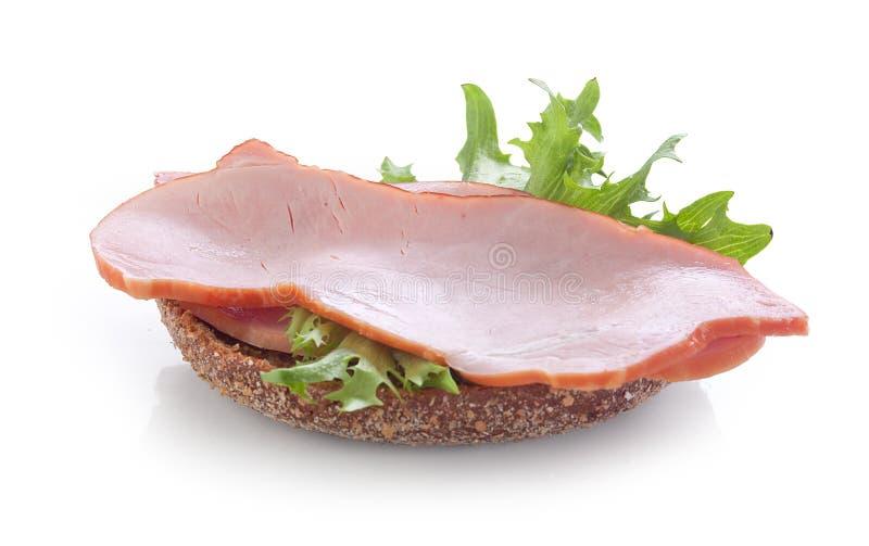 Smörgås med grisköttfransyskan royaltyfri fotografi