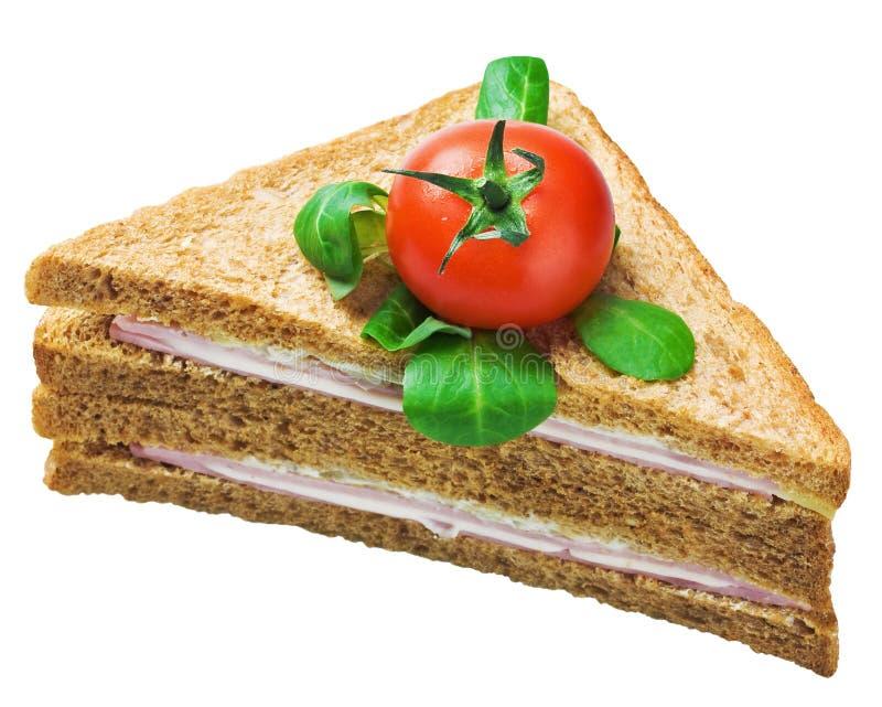 Smörgås med isolerade skinka och ost royaltyfri foto