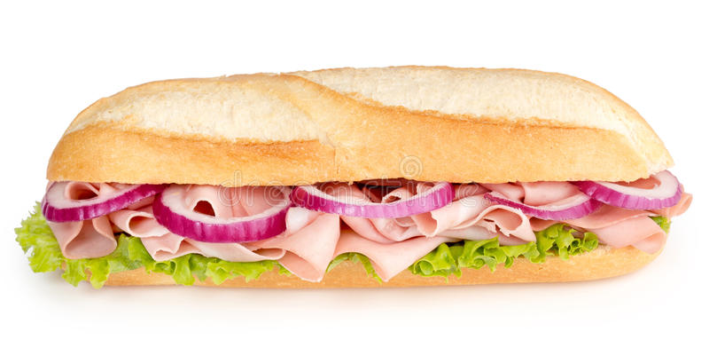 Smörgås med mortadella royaltyfri foto