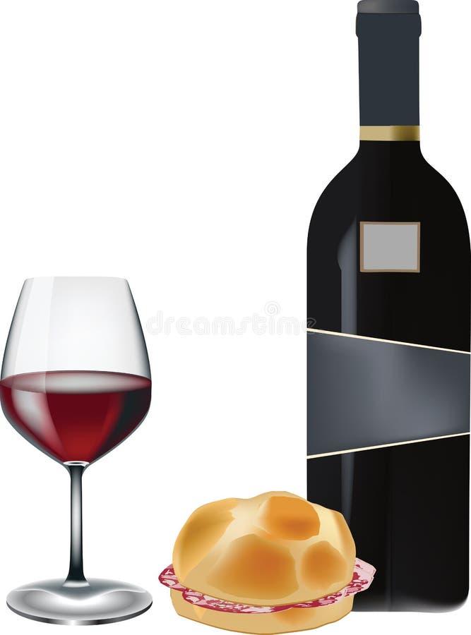Smörgås med salami och exponeringsglas av vin vektor illustrationer