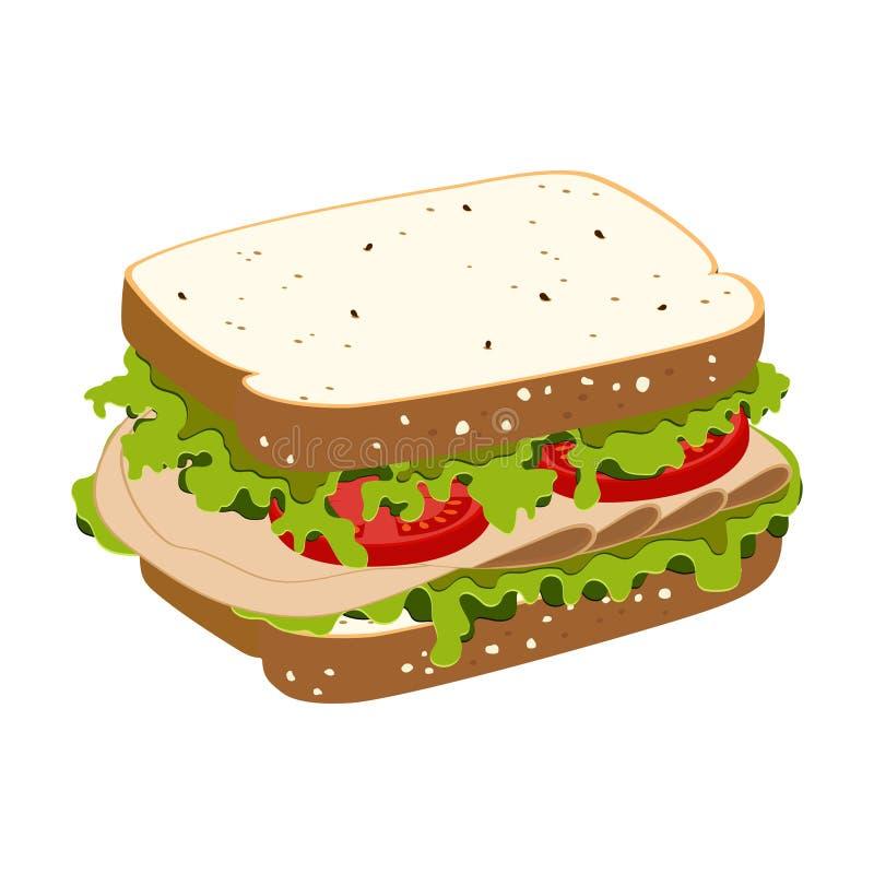 Smörgås med skinka royaltyfri illustrationer