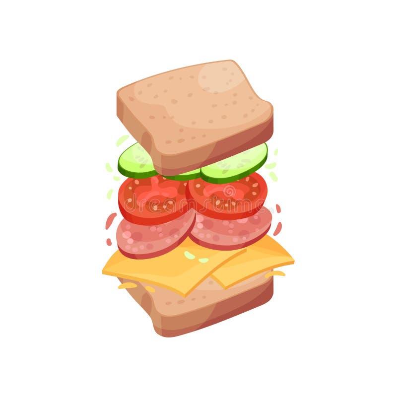 Smörgås på fyrkantiga skivor av bröd med salami white f?r vektor f?r bakgrundsillustrationhaj royaltyfri illustrationer