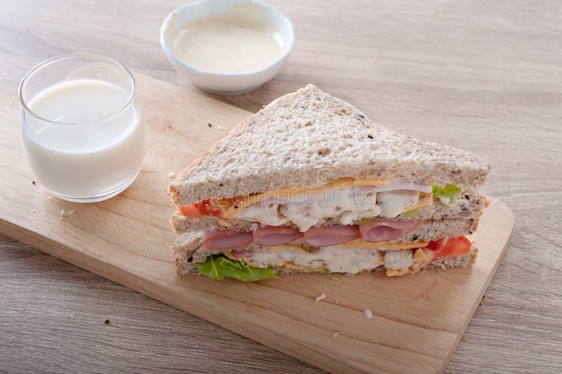 Smörgåsar blir rädd skinkaosttomaten royaltyfria foton