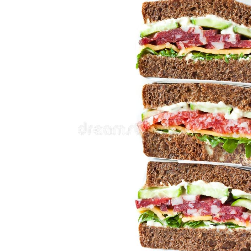 Smörgåsar för salamirågpärla arkivfoto