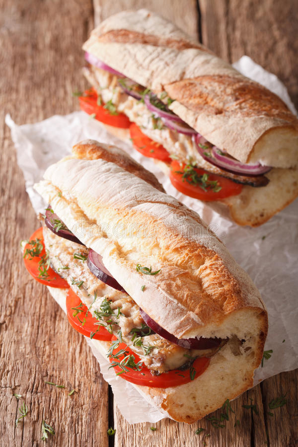 Smörgåsar med den stekte makrillen och grönsaknärbild vertikalt fotografering för bildbyråer
