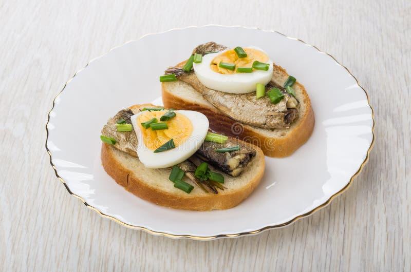Smörgåsar med på burk små stackare, huggen av salladslök och kokade ägg royaltyfria foton
