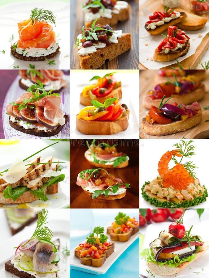Smörgåsar och canapecollage royaltyfria bilder