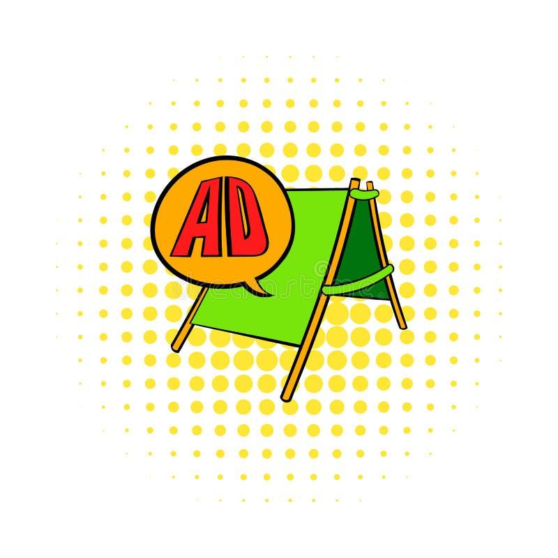 Smörgåsbrädet med ANNONSEN märker symbolen, komiker utformar stock illustrationer