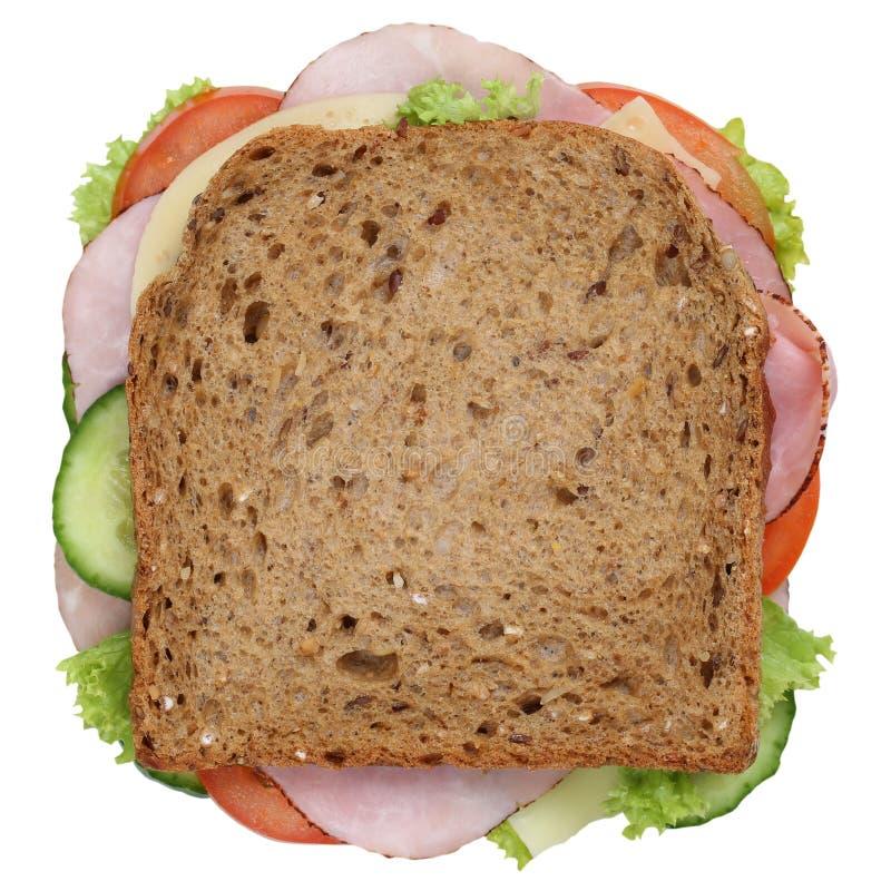 Smörgåsrostat brödbröd för den isolerade frukosten med bästa sikt för skinka royaltyfria foton