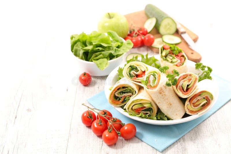 Smörgåssjal, burrito royaltyfri bild