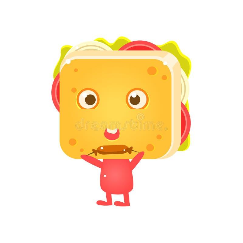 Smörgåstecken som äter korven stock illustrationer