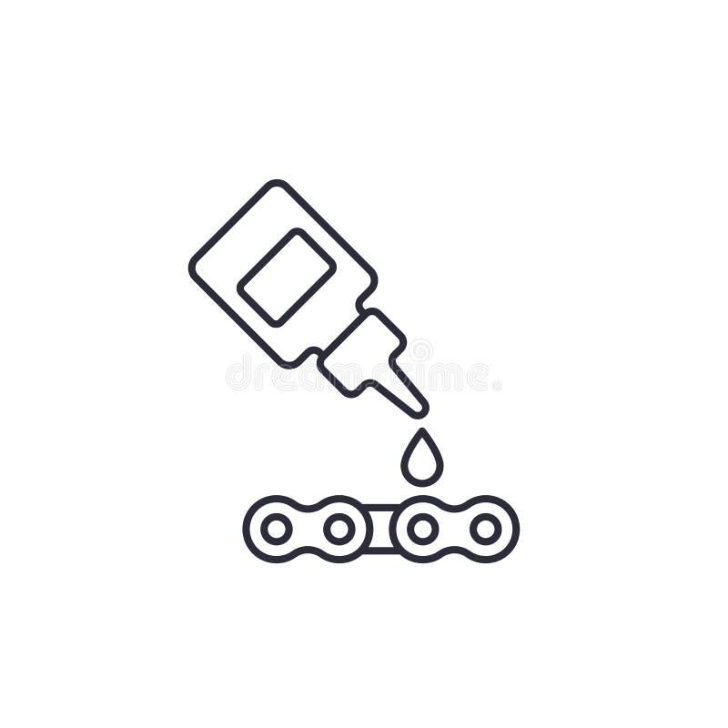 Smörjmedel olja för linjär symbol för cykelkedjevektor stock illustrationer