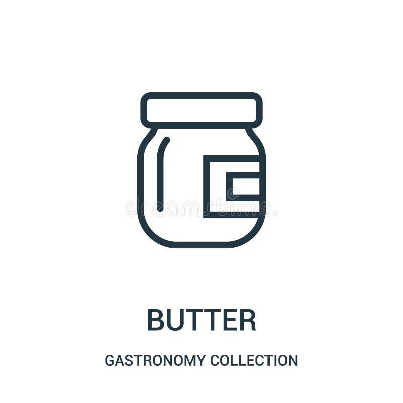 smörsymbolsvektor från gastronomisamlingssamling Tunn linje illustration för vektor för smöröversiktssymbol stock illustrationer