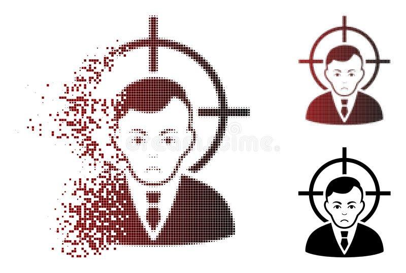 Smętność pyłu piksla Halftone ofiary biznesmena ikona royalty ilustracja