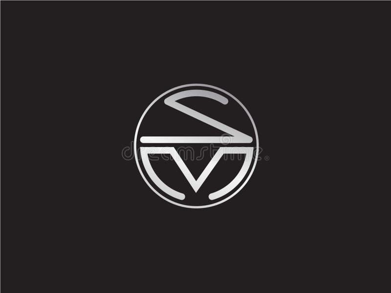 SM最初的圈子形状银颜色最新商标设计 向量例证