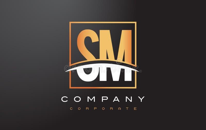 SM χρυσό σχέδιο λογότυπων επιστολών του S Μ με το χρυσά τετράγωνο και Swoosh διανυσματική απεικόνιση