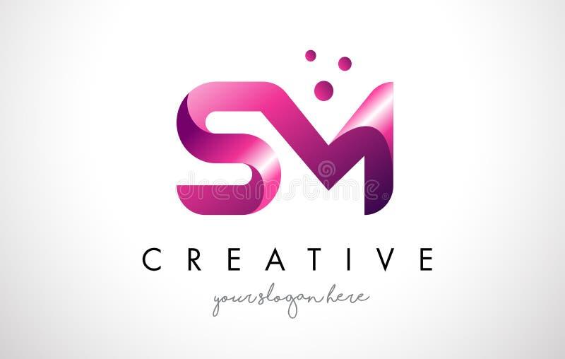 SM brief Logo Design met Purpere Kleuren en Punten vector illustratie
