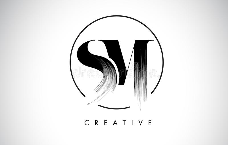 SM de Brief Logo Design van de borstelslag Zwarte Verf Logo Leters Icon stock illustratie
