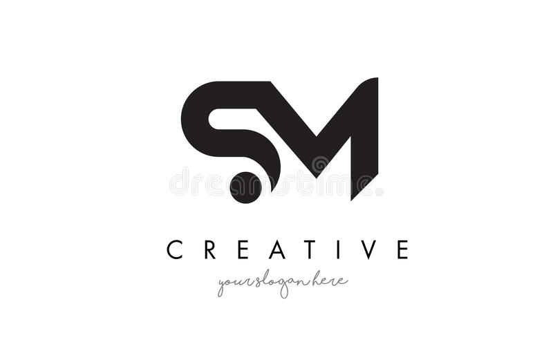 SM Letter Logo Design with Creative Modern Trendy Typography. royalty free illustration