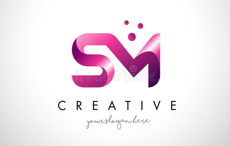 SM Letter Logo Design with Purple Colors and Dots vector illustration