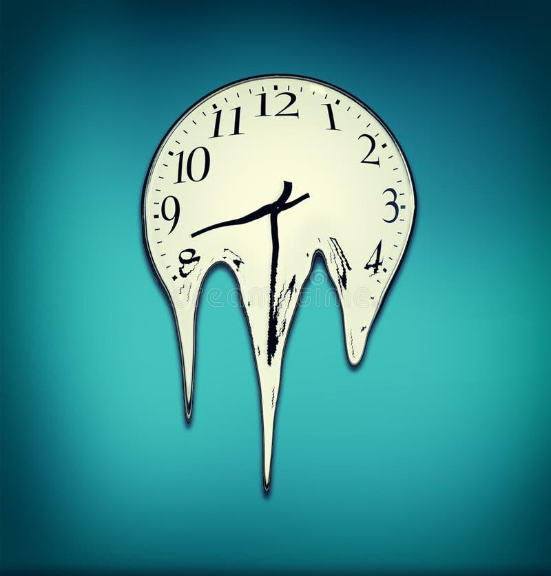 Sm?ltande klocka Klocka som smälter på en blå vägg stock illustrationer