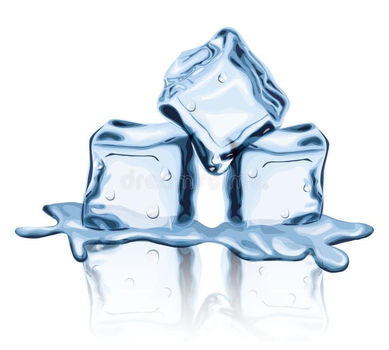Sm?ltt vatten f?r djupfryst v?tskefrost f?r iskuber fast royaltyfri illustrationer