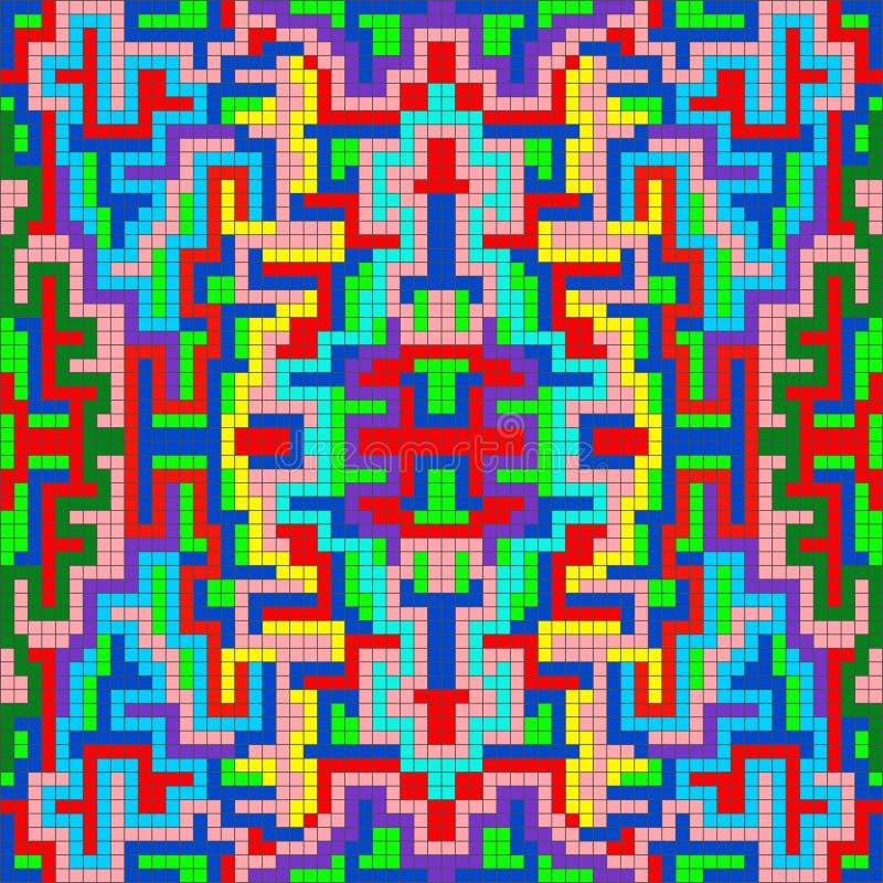 Sm? PIXEL f?rgade den geometriska abstrakta modellen royaltyfri illustrationer