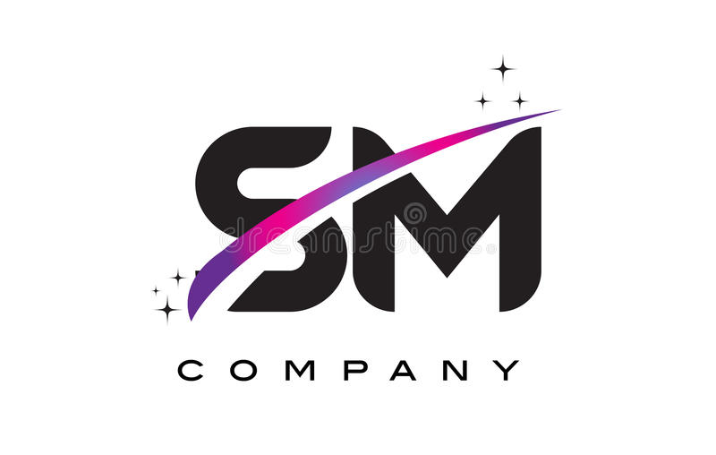 SM S M Black Letter Logo Design with Purple Magenta Swoosh. And Stars royalty free illustration