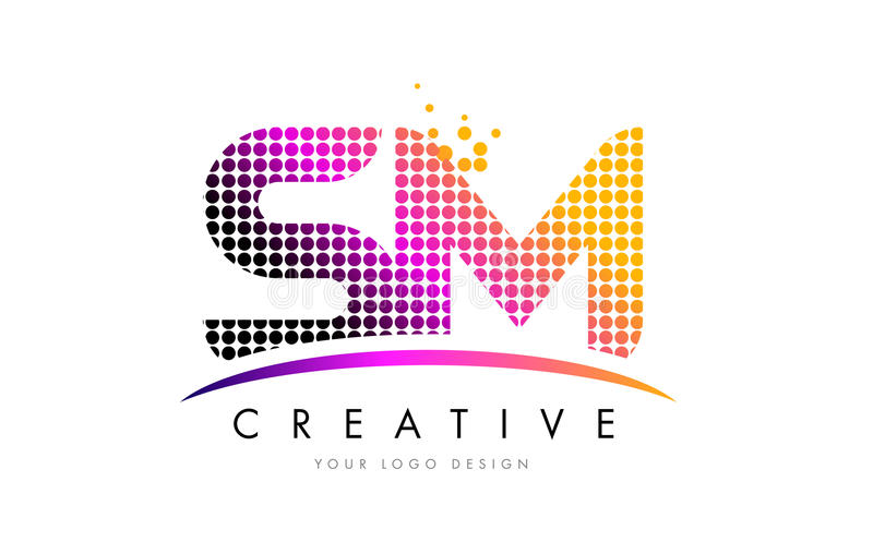 SM S M Letter Logo Design with Magenta Dots and Swoosh. SM S M Dots Letter Logo Design with Magenta Bubble Circles and Swoosh royalty free illustration