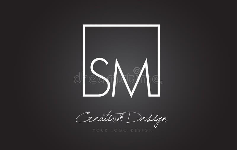 SM Square Frame Letter Logo Design with Black and White Colors. vector illustration
