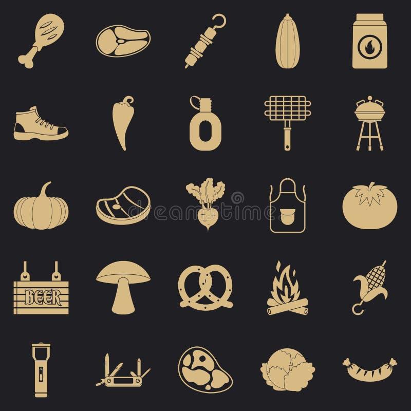 Smażyć mięsne ikony ustawiać, prosty styl royalty ilustracja